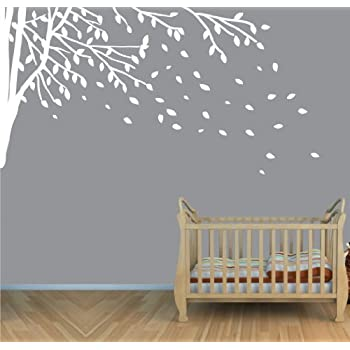 Childrens Wall Decals, Vinyl White Tree Wall Decal, Tree Branch Wall Decal