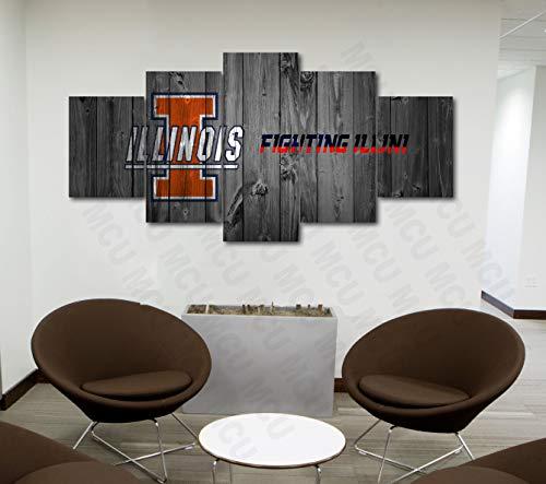 (5 Piece American Football College University Teams Art Decor Wall Poster (5 Piece Medium, Illinois Fighting Illini))