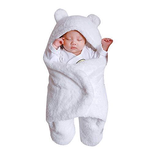 FEITONG Newborn Infant Baby Girls Boys Cute Cotton Solid Soft Plush Sleeping Blanket Wrap Swaddle(0-3M,White)