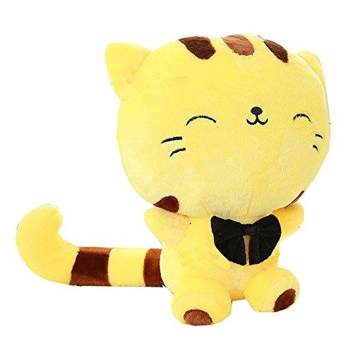 Eonkoo Cute White/Yellow love to sleep Cat Plush Dolls,Hight quatily PP cotton Filling Stuffed Animal Toy (Where To Buy Big Teddy Bears)