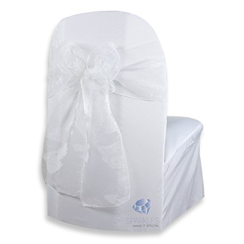 Sparkles Make It Special 100-pcs Organza Chair Cover Bow Sash - White - Wedding Party Banquet Reception - 28 Colors Available ()