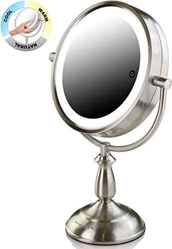 "Ovente 8.5"" Dual-Sided LED Lighted Makeup Mirror with Timer, Battery or Cord Operated, SmartTouch with 3 Light Tones (Cool, Warm, Natural Daylight), 1x/5x Magnification, Nickel Brushed (MPT85BR1X5X)"