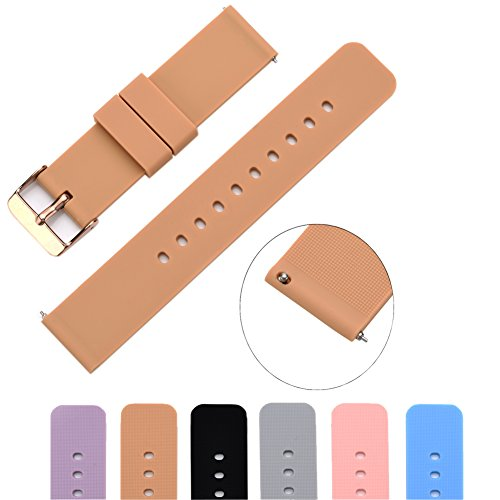 (MLQSS Soft Silicone Watch Band with Quick Release Pins - Choice Color & Width (18mm, 20mm or 22mm) Watch Straps w/Adjustable Metal Clasp)