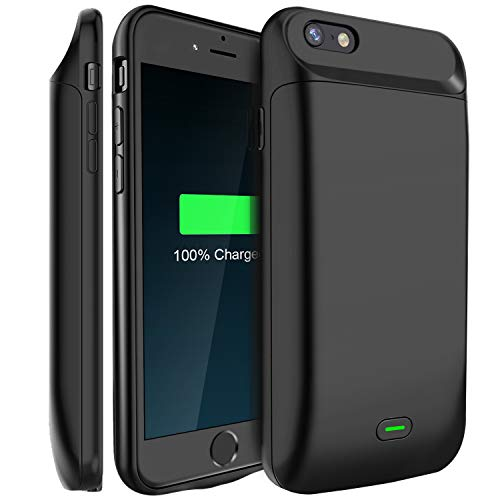 Battery Case, Available for 4.7'' iPhone 8/7/6s/6, LoHi 5000mAh Ultra Slim Extended Battery Rechargeable Protective Portable Charger Support Headphones (Black)
