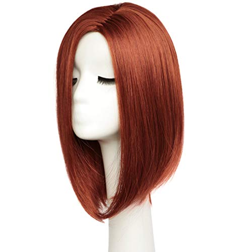 BESTUNG Short Bob Wigs Straight Hair Wigs for Women Medium Length Full Head Halloween Cosplay Wig Natural Looking with Wig Cap(Wine -