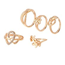 JSEA 5pcs/set Love Heart Knot Leaf Knuckle Midi Rings Pinkie Ring for Women