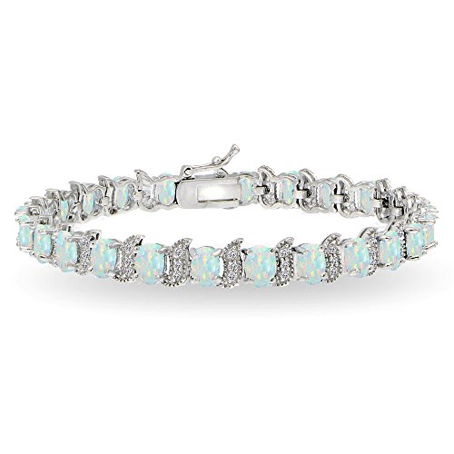 (GemStar USA Sterling Silver Simulated White Opal 6x4mm Oval and S Tennis Bracelet with White Topaz Accents)