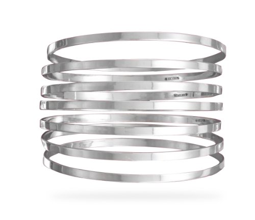 Semanarios Set of 7 Flat Sterling Silver Bangle Bracelets ()