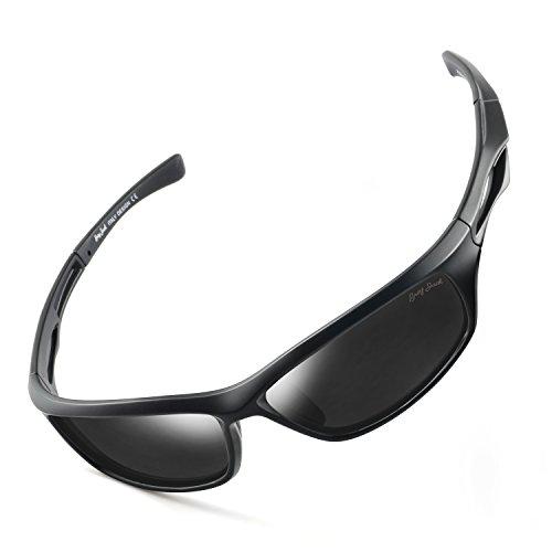 Mens Frame Jack - GREY JACK Lightweight Polarized Sports Sunglasses UV Protection Lens Tr90 Durable Frame for Men Women Matte Black Frame Black Lens