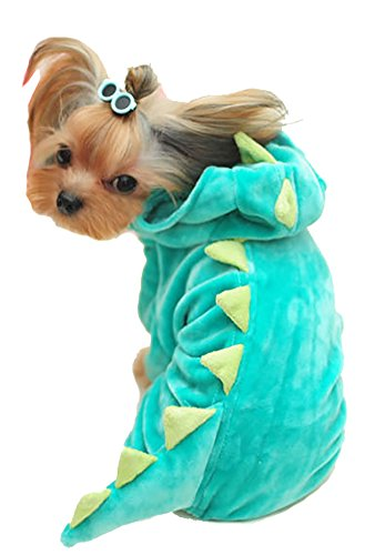[MaruPet Autumn/Winter Overall Dinosaur Custome Fleece Warm Four-leg Jumpsuit Cosplay Outfit Custome for Teddy, Pug, Chihuahua, Shih Tzu, Yorkshire Terriers, Papillon Green] (Pug Batman Costume)