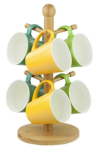 Home Basics Bamboo Mug Tree, Holds Up to 6 Coffee Cups, Free Standing, Circular Base, Kitchen Countertop, Beige (1) (Coffee Cups Hd Design)