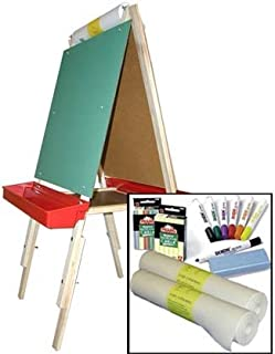 product image for Beka Adjustable Double Sided Easel Combo #3, Magnetic and Chalkboard Surfaces, Top Paper Holder, Red Trays