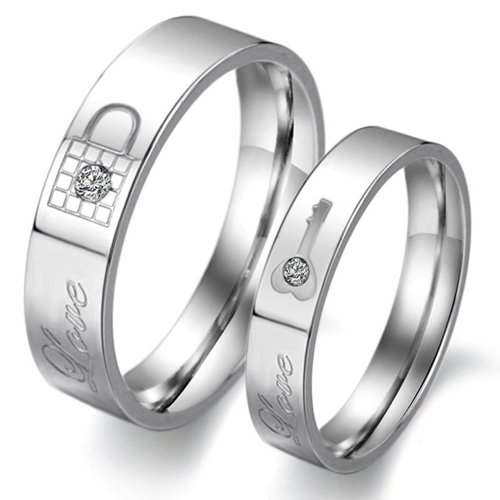 Stainless Couple Wedding Finger Crystal