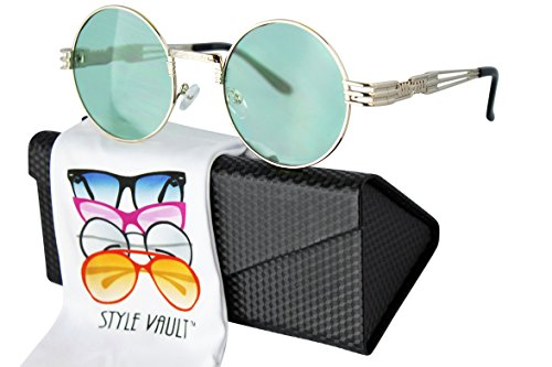 Metal Vault Sunglass Case (A190-ec Steampunk Hipster Metal Round Sunglasses w/case (C045 Gold-mint green, 54))