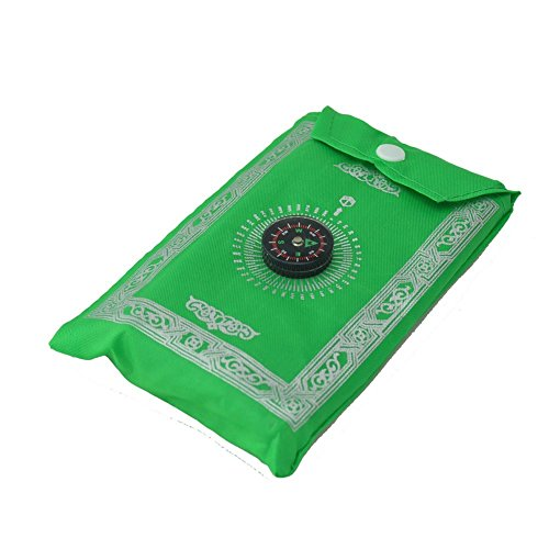 Price comparison product image Islamic Travel Prayer Mat, Portable Rug,  Pocket Sized Carry Bag Waterproof Islamic Prayer Rug, Qibla, Islamic GIFTS 123----GREEN COLOR