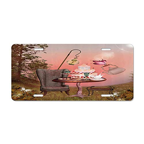 LLgLOOhoOPPPJDh Birthday Alice in Wonderland with Cake Butterfly in Magical Forest Cartoon Art License Plate Holder Aluminum Metal License Plate Cover