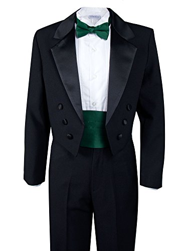 Spring Notion Boys' Black Classic Tuxedo with Tail Emerald 12
