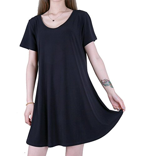 FAVELEM Women's Tunic Casual Short Sleeve Swing Loose Tshirt Dress(L,Black) 201-4 (Swing Polyester)