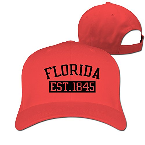 Florida Est 1845 Red Adjustable Baseball Hats For Man Woman (Hat Last King Red)