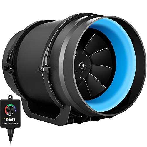 iPower GLFANXINLINEEXPC8 8 Inch 550 CFM Inline Duct Fan with Variable Speed Controller Ventilation, Quiet HVAC Blower, 8