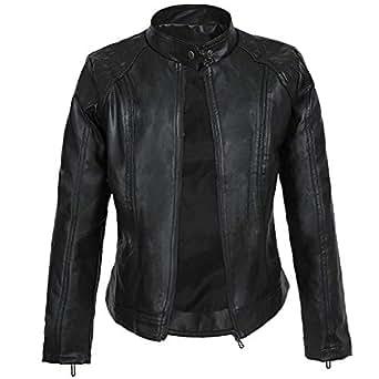 DISSA P8006 Women Faux Leather Bomber Jacket Slim Coat Leather Jacket,Black,S,UK 10
