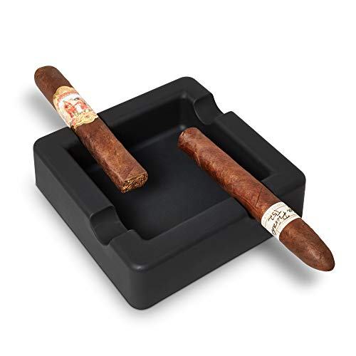 FairleeCove Cigar Ashtray - Large Gauge Cigars - Wide Shelf - Deep Bowl - Unbreakable - Firm Flexible Silicone - Indoor Outdoor Cigar Cigarette Ashtrays for Patio Pool Boat Club Office Restaurant