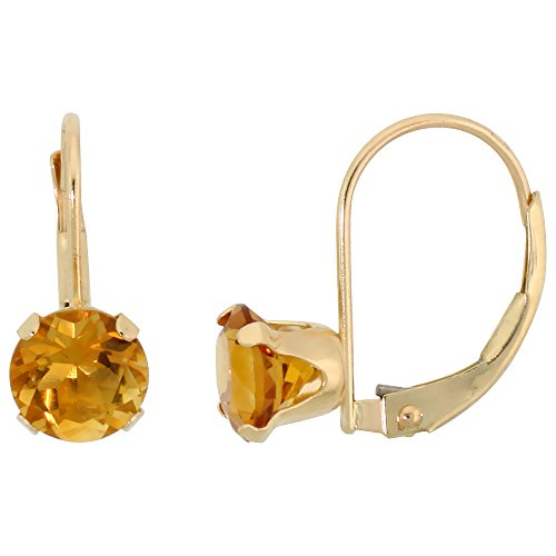 10k Yellow Gold Natural Citrine Leverback Earrings 6mm Brilliant Cut November Birthstone, (Brilliant Cut Citrine Earrings)