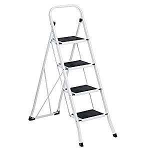 Delxo Folding 4 Step Ladder Ladder With Plastic Cushion Handgrip Anti-Slip Sturdy and Wide Pedal 330lbs Portable Steel Step Stool White and Black 4-Feet (WK2040-3)