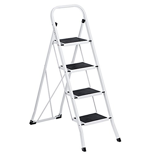 Safety 4 Step Ladder - Delxo Folding 4 Step Ladder Ladder With Convenient Handgrip Anti-Slip Sturdy and Wide Pedal 330lbs Portable Steel Step Stool White and Black 4-Feet (WK2040-3)