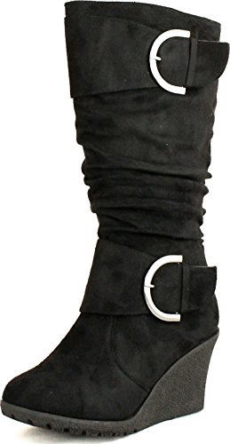 Top Moda Womens Pure-2 Buckle Slouch Wedge Boots,Black/Blue Yellow,7.5