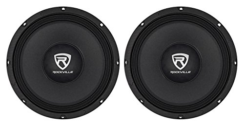 "2 Rockville RM108PRO 10"" 1200 Watt 8-Ohm SPL Car Midrange Mid-Bass Pro Speakers"