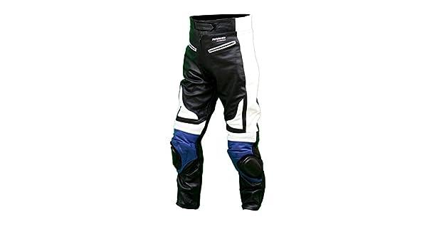 KC301/pantal/ón moto quad Racing piel negro y azul Karno//–/sliders