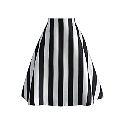 Chicwish Women's Black and White Stripes A-Line Prom Midi Pleated Skirt