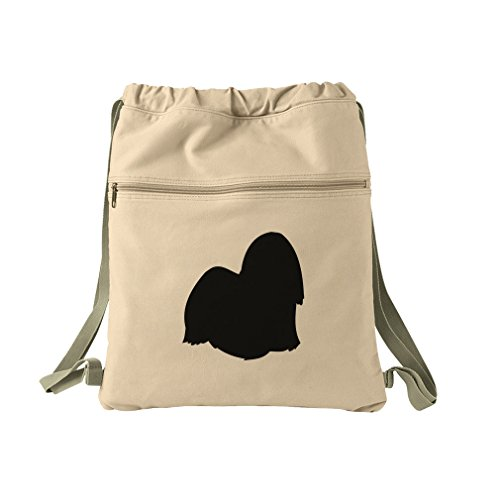 Lhasa Apso Silhouette Canvas Dyed Sack Backpack Bag -