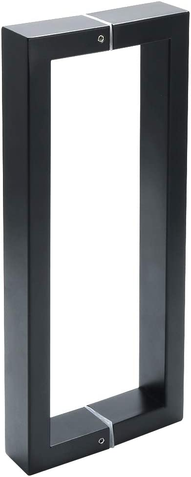 Sayayo Manijas de la puerta de empuje de acero inoxidable Tiradores de las puertas de granero corredizas internas Manijas cuadradas de dos vías, 11 pulgadas, negro mate, ELS2010-B
