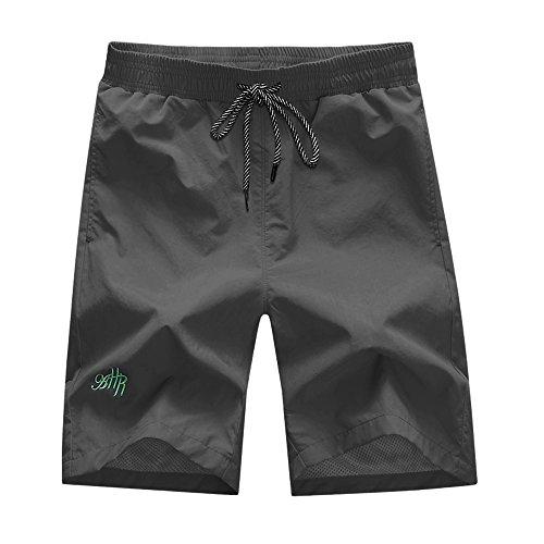 Grey Swim Trunks - Men's Swim Trunks Beach Short With Mesh Lining (Large, Gray)
