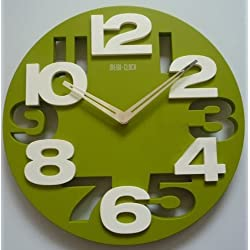 3D Big Digit Modern Contemporary Home Decor Round Wall Clock Green (GREEN, 1)
