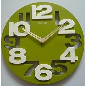 3D Big Digit Modern Contemporary Home Decor Round Wall Clock Green (GREEN, 1)