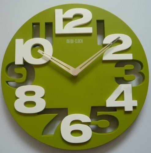 Contemporary Green - 3D Big Digit Modern Contemporary Home Decor Round Wall Clock Green (GREEN, 1)