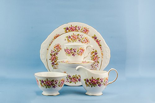 6 Persons Bone China Vintage Cake Plate Colclough TEA SET Party Pink Retro Creamer Floral Cup Circa 1970 English LS