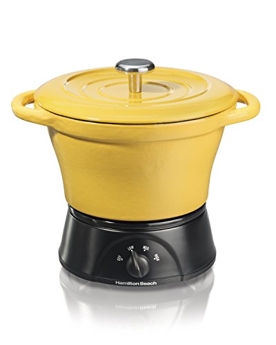 Hamilton Beach Party Crock Cast Iron Dutch Oven, Yellow (33411) (Cast Yellow Casserole Enamel Iron)