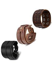 Cupimatch 3Pcs Unisex Women Punk Rock Adjustable Wide Leather Strap Wristband Men Bangle Cuff Bracelet