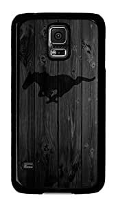 Samsung Galaxy S5 Case, S5 Case - Cool Design Wood Black MUStang Pattern Polycarbonate Hard Case Cover for Samsung Galaxy S5 I9600 Black