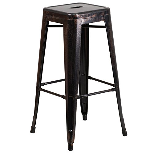 Flash Furniture 30'' High Backless Black-Antique Gold Metal Indoor-Outdoor Barstool with Square Seat (Shop For Bar Stools)