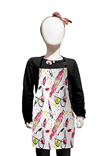 Lunarable Girls Kids Apron, Fancy Pink Watch with Love Theme with Color Splashes Artsy Beauty Image Print, Boys Girls Apron Bib with Adjustable Ties for Cooking Baking and Painting, Black -