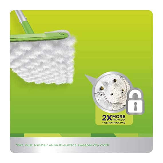 Swiffer Sweeper Heavy Duty Mop Pad Refills for Floor Mopping and Cleaning, All Purpose Multi Surface Floor Cleaning Product, 20 Count, 2 Pack 5 2x More Trap + Lock of dirt, dust, and hair vs. multi-surface Sweeper dry cloth Over 30,000 3D fibers brush into tight spaces gathering dust, dirt, and pet hair Great on Grout and any other floors from tile to finished hardwood