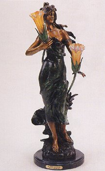 ''Woman in Wind'' 35''H Distinctive Solid Bronze Sculptural Lamp by A. Moreau by Artistic Solutions
