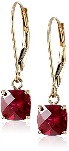 10k Yellow Gold Cushion Checkerboard Cut Created Ruby Leverback Earrings (6mm) Cushion Cut Gemstone Leverback Earrings