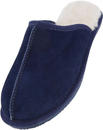Lambland Mens Genuine Full Sheepskin Slipper Mules with Durable Sole and Thick Sheepskin Navy