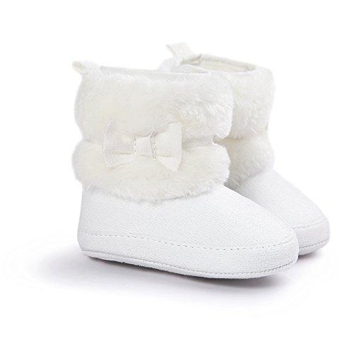 LIVEBOX Baby Girls' Premium Soft Sole Bow Anti-Slip Mid Calf Warm Winter Infant Prewalker Toddler Snow Boots (M: 6~12 months, White)